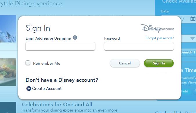 passo a passo para reservar restaurante Disney