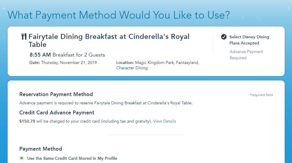 reservar restaurante Disney